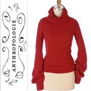 Anthropologie MOTH The Sleek Red Cowlneck Sweater